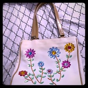 Rhinestone Flowers purse w/ genuine leather